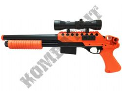 M47B1 Shotgun Pump Action Airsoft BB Gun Black and Orange